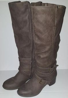 65d1a347cfa8 womens tall brown heeled buckle strap boot size 8 zippered side  Unbranded   KneeHighBoots