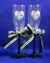 Jack & Sally Nightmare Before Christmas Wedding Toasting Glasses Flutes Engraved Personalized FREE