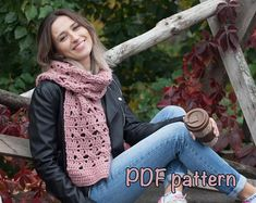 Very cute scarf pattern. Chart, pictures and written descriptions!  #LadushkaCrochet #crochet_Scarf #scarf_crochet