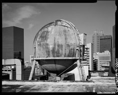 View of water tower for sprinkler system on roof of 1924 store, from southeast looking northwest. Rich's Downtown Department Store, 45 Broad Street, Atlanta, Fulton, GA. Other Title: Rich's Downtown.