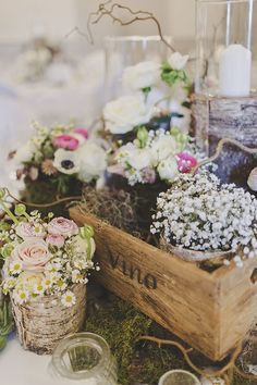 Crate Gypsophila Logs Candles Flowers Centrepiece / http://www.deerpearlflowers.com/country-wooden-crates-wedding-ideas/3/