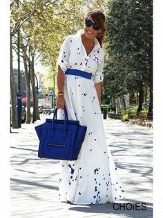 Shop White Splash Print Shirt Collar Maxi Dress from choies.com .Free shipping Worldwide.$36.9