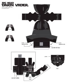 Blog Paper Toy Big Head Darth Vader template preview Big Head Darth Vader papertoy