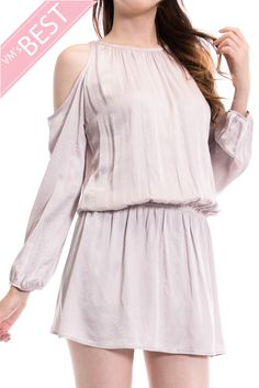 Solid Open Shoulder Layered Dress-Blush $44