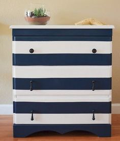 {nautical dresser} painted dresser in navy and white stripes Nautical Dresser, Nautical Bedroom, Nautical Chest Of Drawers, Nautical Interior, Chest Drawers, Furniture Making, Diy Furniture, Recycled Furniture, Bedroom Furniture