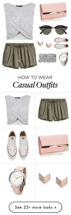 """Casual #1"" by nedawnpatrol on Polyvore featuring New Look, FOSSIL, Ray-Ban and Converse"