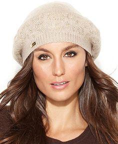 Calvin Klein Studded Leopard Beret Crochet Winter Hats 699c981af8b