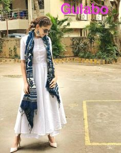 Designer dresses indian - Indian bolywood summer maxi dress with skirt with indigo Etsy Indian Gowns Dresses, Indian Fashion Dresses, Dress Indian Style, Fashion Outfits, Pakistani Dresses, Casual Indian Fashion, Look Fashion, Indian Outfits Modern, Indian Fashion Trends