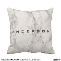 Modern Faux Marble Stone Texture Personalized Throw Pillow