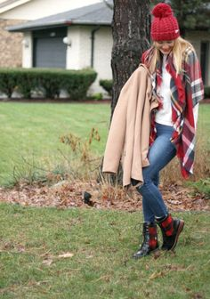Cool plaid blanket scarf, blue jeans, red beanie, beige coat, plaid boots and white sweater. #women's #fall #fashion