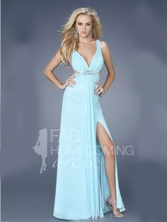 A-line V-neck Beading Sleeveless Floor-length Chiffon Bridesmaid Dresses / Prom Dresses / Evening Dresses (SZ015040) - FabHomecomingDress.com