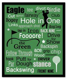 Golf Subway Art Print Childrens Art 11x14 via @etsy