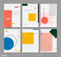 Set of minimal Memphis design start-up poster vector Layout Design, Interaktives Design, Buch Design, Graphic Design Layouts, Graphic Design Posters, Graphic Design Inspiration, Game Design, Minimal Graphic Design, Pamphlet Design