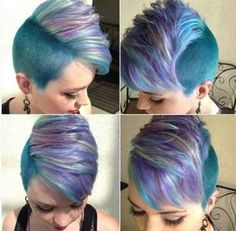 Non spiked up mohawk. I really like this cut, style and the color idea!