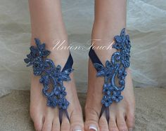 Lace Barefoot Sandals Beach Wedding France Lace Anklet Sandals Barefoot Sandals Wedding, Wedding Shoes, Bare Foot Sandals, Beach Sandals, Wedding France, Lace Weddings, Blue Lace, Anklet, Royal Blue