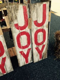 This beautifully rustic vintage JOY sign is made from recycled reclaimed pallet wood.    Each sign is hand painted with red toxic free paint and