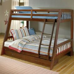 Modern Twin over Full Bunk Bed with Ladder and Storage Drawers in Cherry