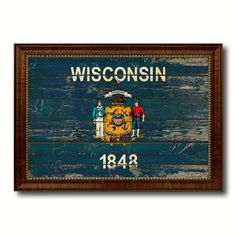 Wisconsin Vintage Flag Canvas Print, Picture Frame Gift Ideas Home Décor Wall Art Decoration