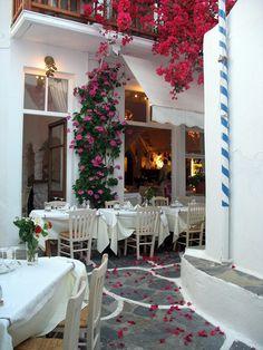 Restaurant with Bougainvillea,  Mykonos Town, Greece  2011