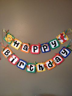 Sesame Street Banner  with primary colors  by PurpleZebraPaperCo, $28.00