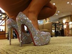 pictures of cute high heels red bottom | ... paillettes shine shine shoes red high heels pumps sparkly white
