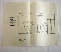 Sketches for Knoll au Louvre exhibition catalog, 1972. Design by Massimo Vignelli.