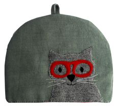 Charlie the cat on my tea cosy http://www.delaneydesigns.co.uk/cosies_s/1847.htm #handmade #upcycled #cat #glasses