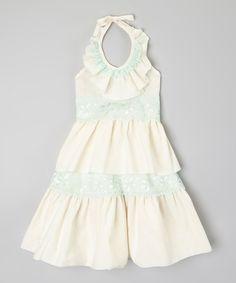 Ivory & Green Ruffle Lace Halter Dress - Infant Toddler & Girls