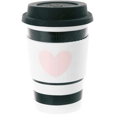 Miss Étoile Ceramic Travel Mug - Rose Heart with Black Stripes ($28) ❤ liked on Polyvore featuring home, kitchen & dining, drinkware, filler, accessories, coffee, other, travel coffee cup, ceramic cups and heart shaped cup