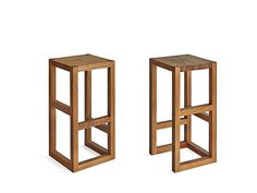 The a little bit different bar stool step isa geometrical piece of art in solid wood.The different steps serve as a relaxedfiling for differently long legs.