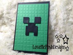 Super easy invites....MineCraft Creeper Birthday Invites/ Birthday Invitation Handmade