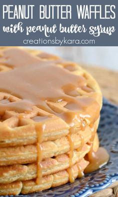 Peanut Butter Waffles with Peanut Butter Syrup - a tasty way to pack more protein into breakfast. Peanut butter lovers will go crazy for this waffle recipe, and the syrup is to die for! #peanutbutterwaffles #peanutbuttersyrup #peanutbutter #breakfastrecipe -from Creations by Kara Breakfast Pancakes, Savory Breakfast, Pancakes And Waffles, Sweet Breakfast, Breakfast Ideas, Breakfast Club, Delicious Breakfast Recipes, Easy Delicious Recipes, Yummy Food