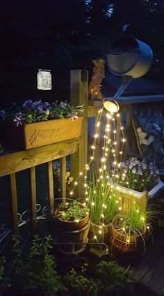 Magical Watering Can Lights! 5 Six Foot Strands of Fairy Lights! Right In Time f… Magical Watering Can Lights! 5 Six Foot Strands of Fairy Lights! Right In Time for the Holidays! Diy Garden Projects, Garden Crafts, Garden Ideas, Mosaic Projects, Art Crafts, Glow Water, Can Lights, String Lights, Solar Lights