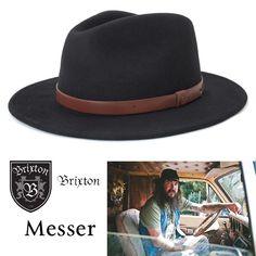 Brixton Messer Black brown Felt hat fedora Cowboy akubra womens Vintage men brim