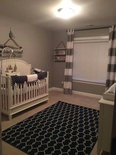 Navy and red crib bedding in a grey nautical theme nursery #pinecreekbedding #havencrib by Brixy nursery reveal shared by #babyfurniturepluskids in SC