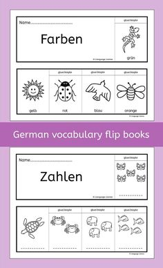 German Flip Books - Farben, Zahlen, Obst, Gemse. A fun way to practice German vocabulary for colors, numbers, fruit and vegetables. The students love coloring in and constructing the flip books themselves.