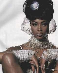 "Vogue US March 1992 | ""Crystal-Clean"" | Model: Naomi Campbell | Photographer: Irving Penn | Stylist: Carlyne Cerf de Dudzeele"
