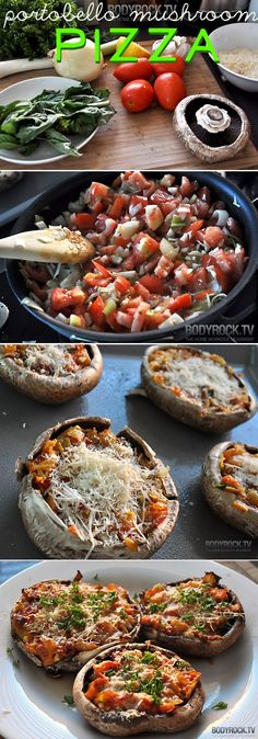 Portobello mushroom pizza. I used a slightly different approach to these..they were very good.