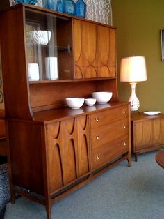 SALE Broyhill Brasilia china cabinet or buffet with detachable hutch.  54 inches wide, 19 inches deep, 65 inches tall. $1295.  $1050