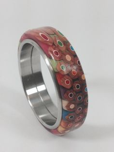 Colored Pencil Wood Bangle Bracelet with Stainless by AATurning