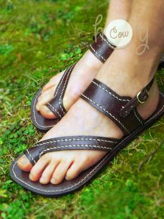 Sandals Brown Sandals Brown Leather Sandals. by HolyCowproducts
