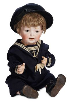Grand-Sized German Bisque Character Baby, 211, by Kestner in Antique Sailor Costume 1100/1500