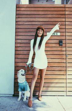 pinterest: lottiehayy Mylifeaseva - Eva Gutowski - golden retriever - cute - white dress