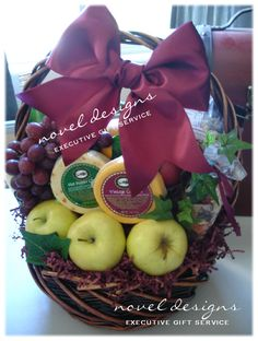 Fresh fruit & cheese gift basket.  Perfect #Birthday, #MothersDay, #Sympathy, #Housewarming & More. Novel Designs Executive Gift Service of Las Vegas. noveldesignsllc.com