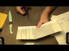 Library pocket tutorial (starts at 3:30 -- she shows how she does a page foldout before the library pocket)
