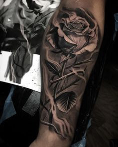 black and gray rose tattoo © Brandon Albus Texas artist