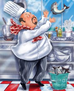 Seafood Chefs-Catch Of The Day. Chef trying to catch a fresh fish that has slipped out of his hands. Fun artwork for the kitchen or dining room. Artist, Shari Warren.