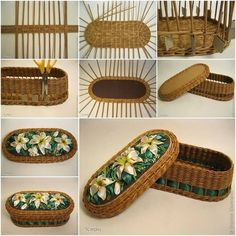 Tuto cesta con flores aplicadas