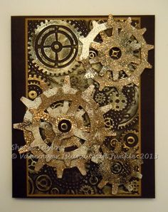 Tim Holtz die, silver paint, Inka Gold in silver and gold, Sizzix embossing folder.... Great guy card!