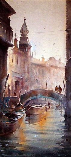 Dusan Djukaric, Venice, Watercolour, 25x55cm